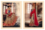Urban Naari Red And Beige Colored Georgette Sarees