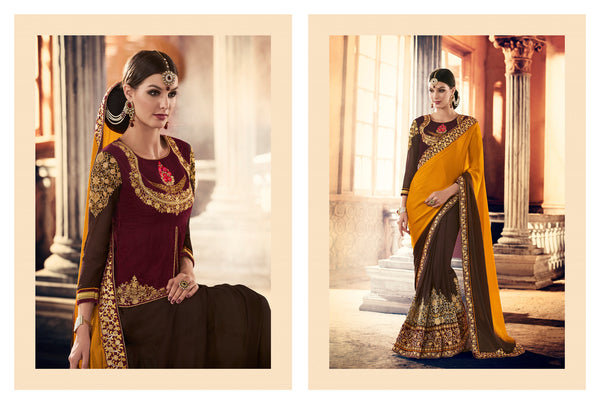 Urban Naari Yellow And Brown Colored Crepe And Georgette Sarees