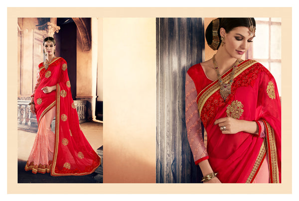 Urban Naari Red And Pink Colored Georgette Sarees