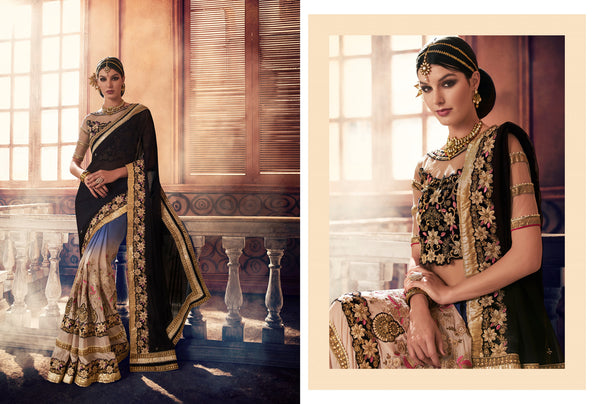 Urban Naari Black, Blue And Beige Colored Georgette Sarees
