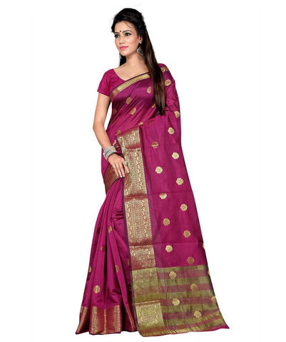 Designer Pink Woven Banarasi Art Silk Saree With Blouse Piece