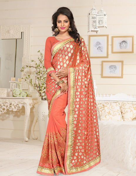 Urban Naari Orange Colored Lycra And Georgette Embroidered Sarees