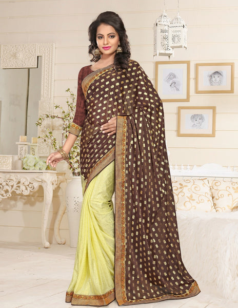 Urban Naari Brown And Yellow Colored Lycra Embroidered Sarees
