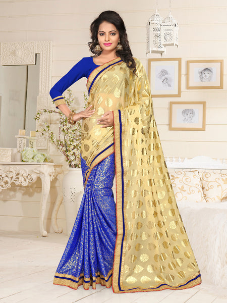 Urban Naari Beige And Blue Colored Lycra Embroidered Sarees