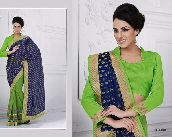 Urban Naari Violet Colored Viscose & Georgette Embroidered Sarees