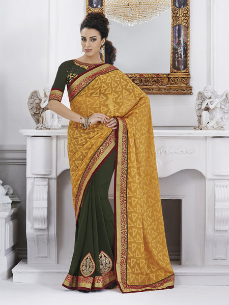 Urban Naari Yellow Colored Jacquard & Georgette Embroidered Sarees