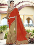 Urban Naari 21592 Orange & Beige Colored Georgette Embroidered Sarees