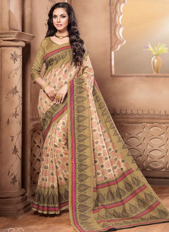 Designer Beautiful Traditional Cream Colored 22637 Casual Wear Pure Silk Sari Printed Daily Wear Saree With Border Work