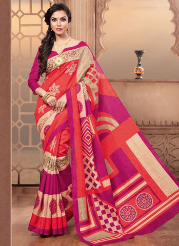 Latest Beautiful Treditional Orange And Pink Colored Casual Wear Sari 22638 Designer Pure Silk Printed Daily Wear Saree For Women