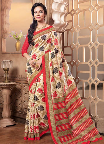 Traditional Designer Beautiful Cream Colored 22639 Casual Wear Sari Pure Silk Printed Daily Wear Saree For Women