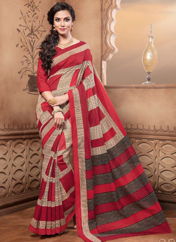 Latest Beautiful Designer Red Colored Traditional Casual Wear Sari 22640 Pure Silk Printed Daily Wear Saree With Floral Print