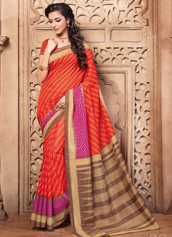 Designer Traditional Orange Colored 22642 Casual Wear Sari Beautiful Pure Silk Printed Daily Wear Saree For Women
