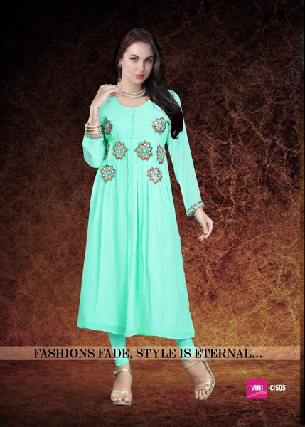 Sky Blue Colored Georgette Embroidered Stitched Kurtis 22996 Designer Kurtis For Women