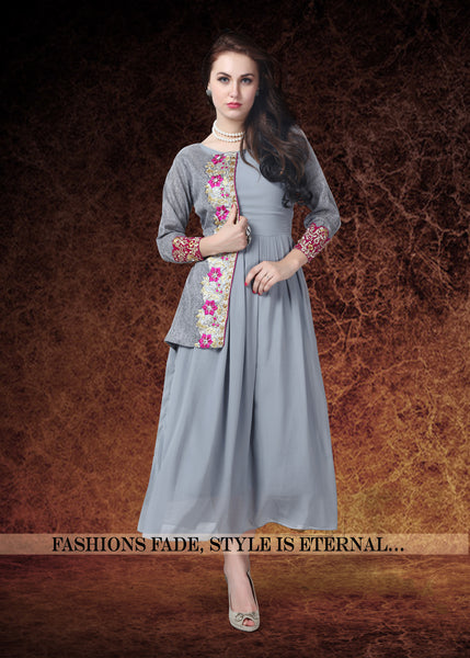 Grey Colored Georgette & Banglori Silk Embroidered Stitched Kurti 22998 Designer Kurtis For Women
