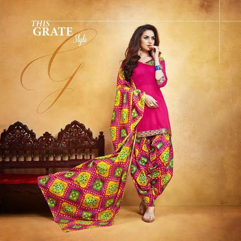 Pink Colored Casual Punjabi Suit Holi Special 2017 Printed With Lace Border Un-Stitched Patiyala Dress Material