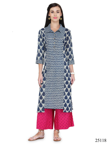 Blue & Pink Colored Palazzo With kurta Cotton Printed Long Kurti With Palazzo For Women