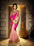 Designer Sarees Dark Pink, Light Pink & Aqua Blue Colored Georgette Sarees WIth Beads Embroidered Lace Work