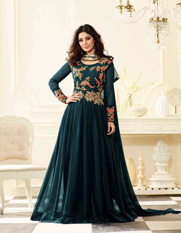 Trendy Prussian Blue Partywear Anarkali Suit With Floral Embroidery & Stone Work