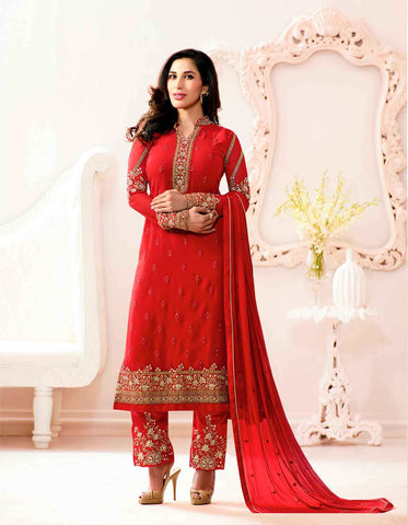 Trendy Red Colored Georgette Thread Embroidery With Stone Work Semi Stitched Salwar Suit