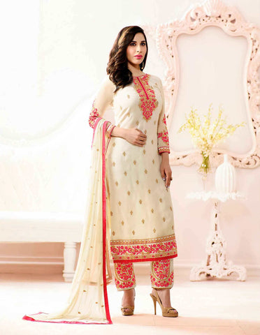 Partywear Off-White Colored Georgette Embroidered Semi Stitched Designer Salwar Suits