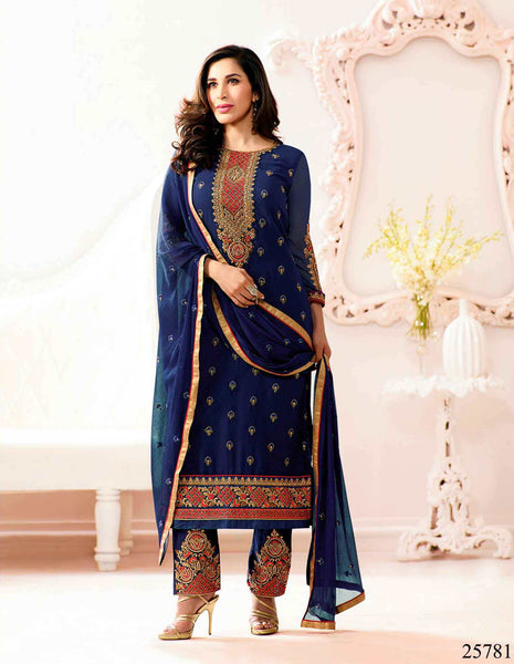 Designer Salwar Suits Navy Blue Georgette Thread Embroidery With Stone Work Salwar Suit