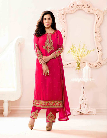 Trendy Rani Pink Colored Partywear Salwar Suit WIth Thread Embroidery & Stone Work