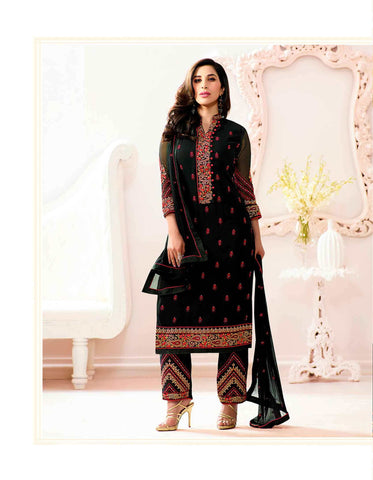 Latest Designer Salwar Suits Black Color Thread Embroidery With Stone Work Design Salwar Suit