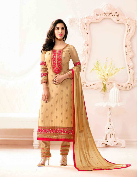 Beige Colored Designer Salwar Suits Georgette Partywear Thread Embroidery With Stone Work Suits