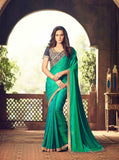 Teej & Raksha Bandhan Latest Collection Green Color Glamour Silk Partywear Embroidered Designer Sarees