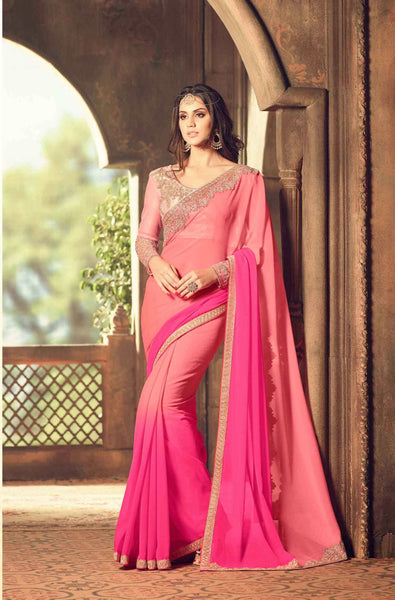 Teej & Raksha Bandhan Sale Designer Sarees Pink Colored Pesto Georgette Embroidered Partywear Saree