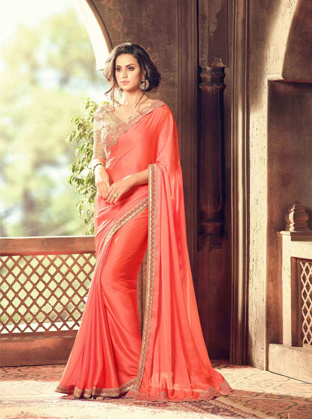 Teej & Raksha Bandhan Sale Trendy Peach Colored Lace & Embroidered Work Designer Sarees