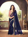 Teej & Raksha Bandhan Maha Sale Designer Sarees Navy Blue Colored Belgium Satin Georgette Saree With Embroidery Work