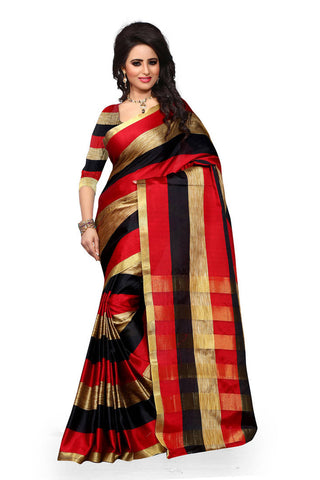 Designer Multicolor Woven Banarasi Art Silk Partywear Saree With Zari Work For Women