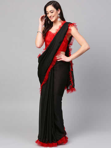Red And Black Plain Ruffle Saree