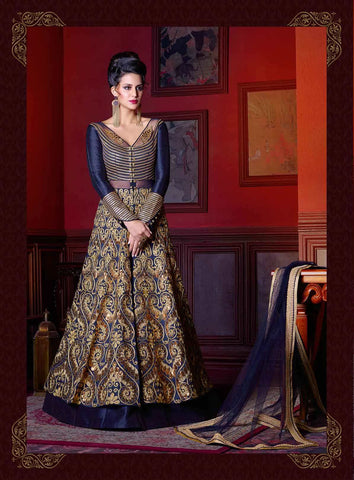 Navy Blue Art Silk Zari Embroidery With Sequence And Stone Work Front Slit Open Anarkali Suits