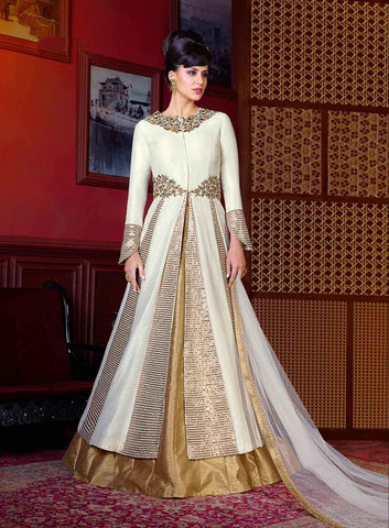 Party Wear Anarkali Suits White Colored Art Silk Front Slit Open Embroidered Anarkali Suits