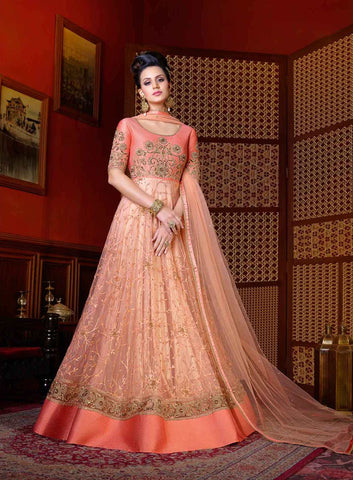 Peach Color Bridal Anarkali Suits Embroidery With Sequence & Stone Work Designer Anarkali Suits