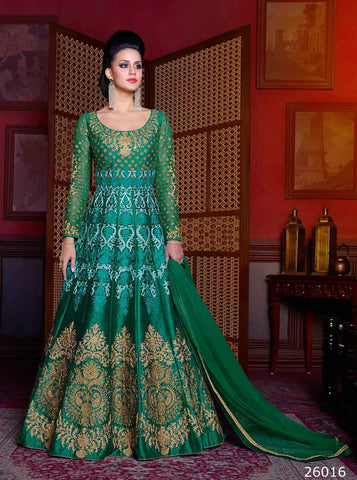 Embroidered Anarkali Suits Green Color Art Silk Zari & Stone Work Bridal Anarkali Suits