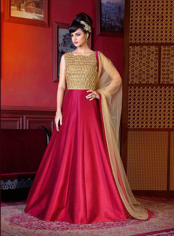 Beige & Maroon Colored Art Silk Jari Embroidery With Stone Work Semi Stitched Salwar Suit