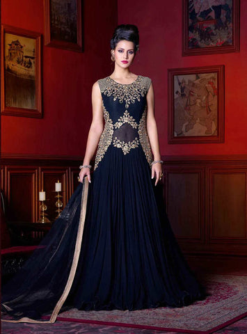 Trendy Navy Blue Gown Style Party Wear Anarkali Suits With Floral Embroidery, Sequence & Stone Work