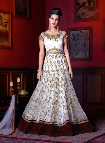 White Colored Gown Style Designer Anarkali Suits Net & Zari Embroidered Anarkali Suits