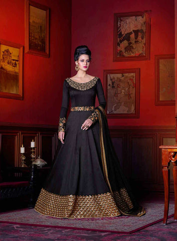 Awesome Black Colored Anarkali Suits With Golden Border & Zari Embroidery Gown Style Designer Anarkali suits