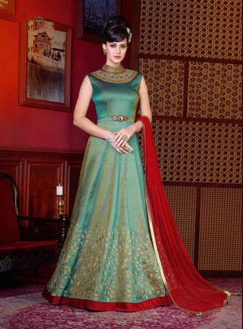 Party Wear Anarkali Suits Bluish Green Art Silk Zari Embroidery With Kundan Stone Work Gown Style Designer Anarkali Suits