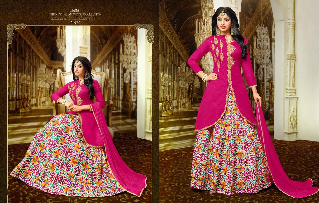 Shop Online Partywear Pink Long Kurti With Skirt For Women Lady India