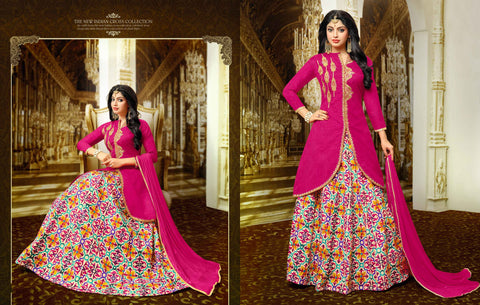 Partywear Salwar Suit Style Designer Pink Long Kurti With Long Skirt Front Cut Golden Embroidery