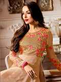 Festival Deals Malaika Arora's Beige Color Designer Anarkali Suits Floral Embroidered Party Wear Salwar Suit