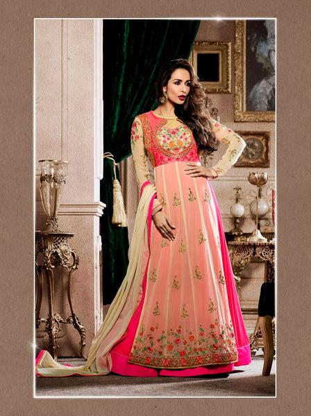 Festive Offers Cream & Pink Colored Anarkali Suits Floral Embroidered Malaika Arora's Designer Salwar Suit