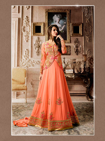 Latest Festive Collection Peach Color Floor Length Koti Style Designer Anarkali Suits With Floral Embroidery Work
