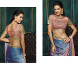 Karva Chauth Special Offers Blue & Onion Pink Metallic Silk Georgette Designer Sarees With Sequins Studded Blouse Piece