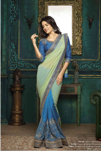 Karva Chauth Saree Collection Green & Blue Sarees Festival Sarees With Silky Georgette Embroidery Work